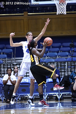 The length of Vernerey was one of Shaw's many challenges  - Duke Tags: #43 Allison Vernerey - SHAW Players: #34 Adana David