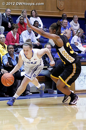 Crowd favorite Jenna Frush saw action at the end of both halves of play  - Duke Tags: #35 Jenna Frush - SHAW Players: #33 Crystal Wilson
