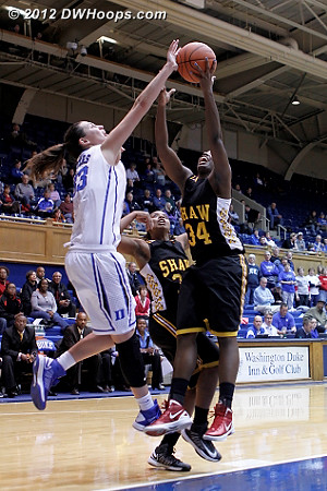 Battle for a rebound  - Duke Tags: #33 Haley Peters - SHAW Players: #34 Adana David