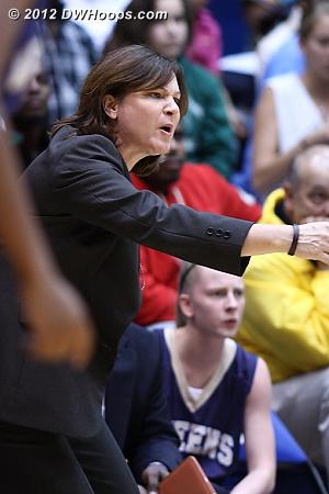 Queens coach Cheryl Nix looks for a call