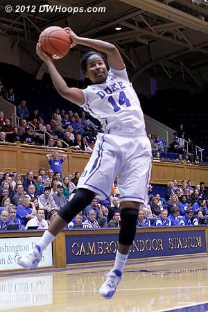 Grabbing a board  - Duke Tags: #14 Ka'lia Johnson