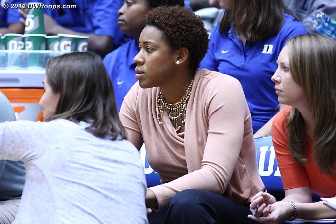 Joy gets some advice from Coach McCallie  - Duke Tags: Joy Cheek
