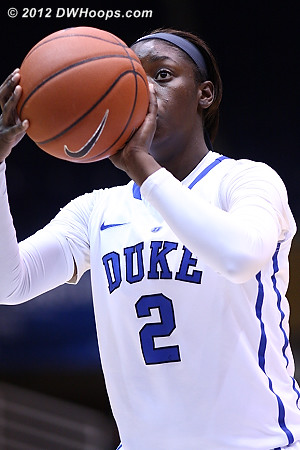 The first points of Alexis Jones college career came from the stripe as Duke took an 11-5 lead