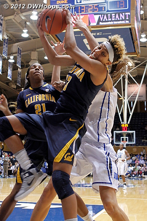 Cal's Layshia Clarendon wrestles for a rebound  - CAL Players: #23 Layisha Clarendon