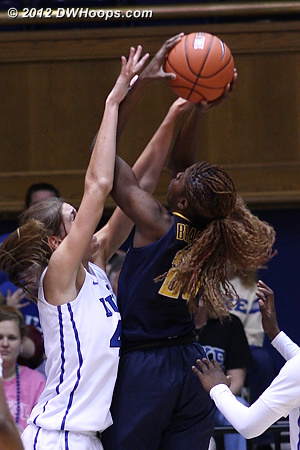 Alli forces a miss  - Duke Tags: #43 Allison Vernerey - CAL Players: #25 Gennifer Brandon