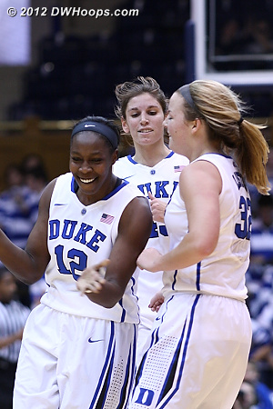 Another Cal time out is taken - 32-15 Duke  - Duke Tags: #43 Allison Vernerey, #32 Tricia Liston, #12 Chelsea Gray