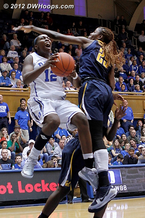 Chelsea Gray soars to the hoop  - Duke Tags: #12 Chelsea Gray - CAL Players: #25 Gennifer Brandon