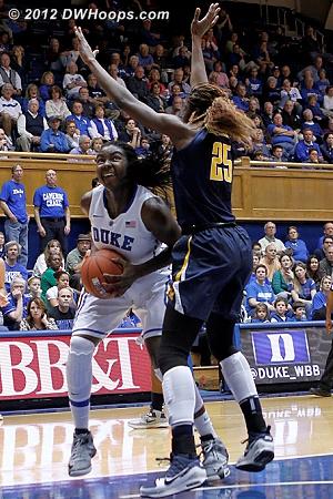 DWHoops Photo  - Duke Tags: #1 Elizabeth Williams  - CAL Players: #25 Gennifer Brandon