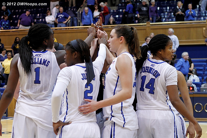 Duke postgame huddle