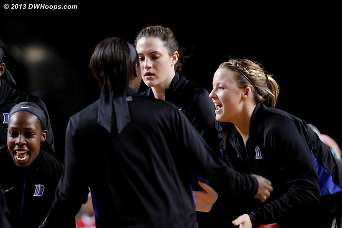 Duke gets psyched during player intros  - Duke Tags: #12 Chelsea Gray, #32 Tricia Liston, #33 Haley Peters
