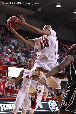 Barrett takes it to the hoop, a tough 1-8 shooting night  - NCSU Players: #12 Krystal Barrett