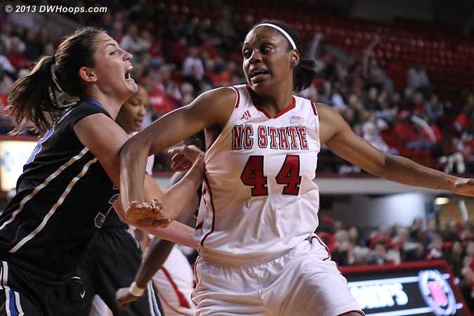 High intensity in the low post  - Duke Tags: #33 Haley Peters - NCSU Players: #44 Kody Burke