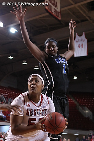 Kiana Evans eyes the basket as Elizabeth Williams menaces from behind  - Duke Tags: #1 Elizabeth Williams  - NCSU Players: #52 Kiana Evans