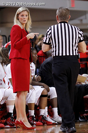 Coach Harper trying to get an explanation of Gatling's second foul from Joe Cunningham  - NCSU Players: Head Coach Kellie Harper