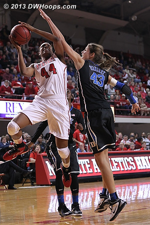 Good D from Vernerey on Burke  - Duke Tags: #43 Allison Vernerey - NCSU Players: #44 Kody Burke