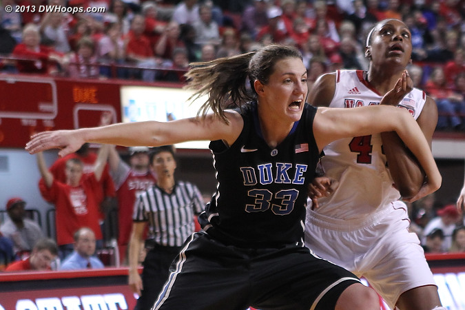 Battle off the blocks  - Duke Tags: #33 Haley Peters - NCSU Players: #44 Kody Burke