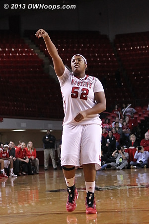 Lightning strikes the first time as Kiana Evans drains a three point basket  - NCSU Players: #52 Kiana Evans