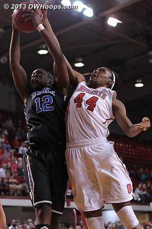 The official scorer clearly missed this blocked shot  - Duke Tags: #12 Chelsea Gray - NCSU Players: #44 Kody Burke