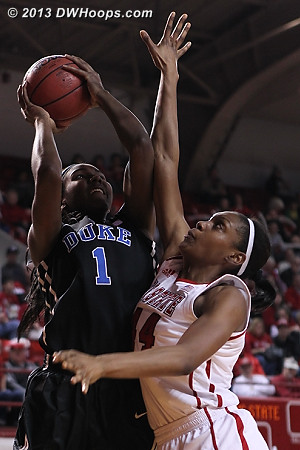 Williams posts up Burke  - Duke Tags: #1 Elizabeth Williams  - NCSU Players: #44 Kody Burke