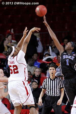 Evans jumper for the lead is no good  - Duke Tags: #1 Elizabeth Williams  - NCSU Players: #52 Kiana Evans