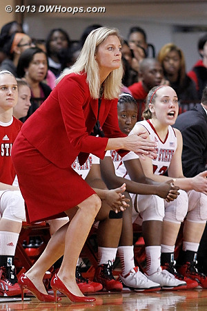 Tense moments on the NC State bench as Duke takes a seven point lead  - NCSU Players: Head Coach Kellie Harper, #23 Marissa Kastanek, #30 Kaley Moser