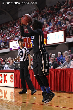 Face cloaked in shadow, Alexis Jones answers Kiana Evans second three with one of her own, Duke up 43-36.  - Duke Tags: #2 Alexis Jones