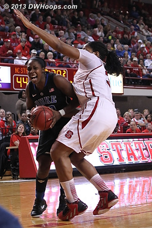 Chelsea Gray drives on Gatling  - Duke Tags: #12 Chelsea Gray - NCSU Players: #34 Markeisha Gatling