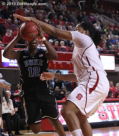 Gray draws Gatling's fourth foul, must have been the right hand or the body before, as the block looks clean  - Duke Tags: #12 Chelsea Gray - NCSU Players: #34 Markeisha Gatling