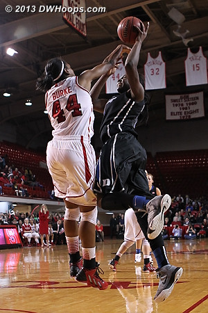Williams draws the foul, State's third in a row  - Duke Tags: #1 Elizabeth Williams  - NCSU Players: #44 Kody Burke