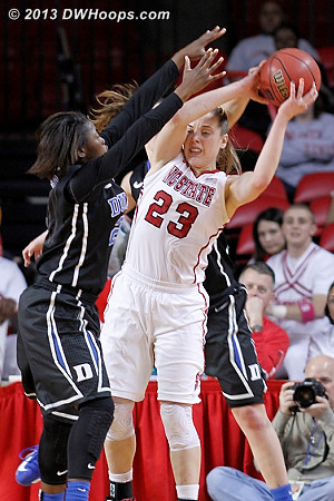 Smothering Duke defense as State tries to mount a comeback  - Duke Tags: #2 Alexis Jones - NCSU Players: #23 Marissa Kastanek