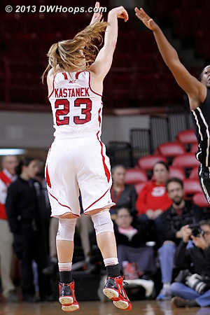 This Kastanek three would have cut the deficit to three under a minute, but it didn't fall  - NCSU Players: #23 Marissa Kastanek