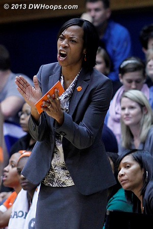 Coach Coleman tries to get the Tigers going during a massive Duke run  - CLEM Players: Head Coach Itoro Coleman
