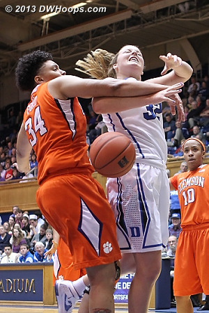 Ford fouls Liston  - Duke Tags: #32 Tricia Liston - CLEM Players: #34 Natiece Ford