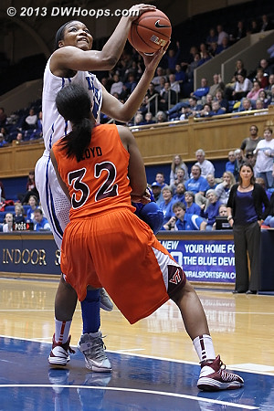 Richa Jackson draws a foul from Alexis Lloyd
