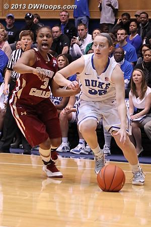Tessah Holt calls for help as Duke walk-on Jenna Frush dribbles towards the basket