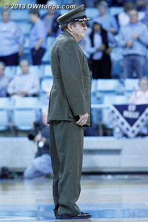 It's a UNC Women's Basketball tradition to honor a military veteran with ties to Chapel Hill every game.  Today was no exception, with this Marine who earned a battlefield commission and a bronze star in WWII, then a second bronze star in Korea.  - UNC Players:  UNC Fans