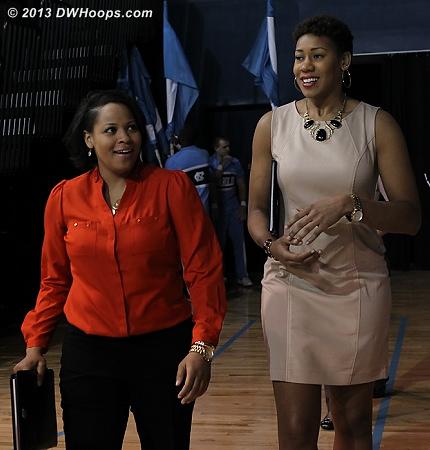 Duke's assistant coaches enter Carmichael  - Duke Tags: Candace Jackson , Joy Cheek