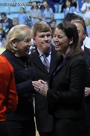 Pregame handshakes  - Duke Tags: Joanne P. McCallie  - UNC Players: Head Coach Sylvia Hatchell, Assistant Coach Andrew Calder
