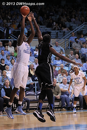 Rolle scored UNC's first four points. By the time another Tar Heel player scored, Duke has 19.  - Duke Tags: #1 Elizabeth Williams  - UNC Players: #32 Waltiea Rolle
