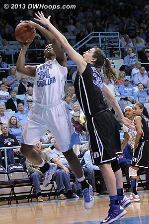 Peters forces a McDaniel miss on a possession where UNC had five chances but didn't score  - Duke Tags: #33 Haley Peters - UNC Players: #34 Xylina McDaniel