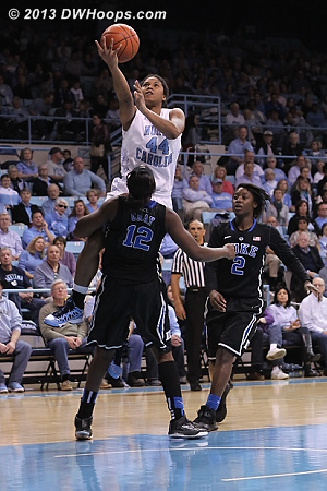 Chelsea Gray draws a charge  - Duke Tags: #12 Chelsea Gray - UNC Players: #44 Tierra Ruffin-Pratt