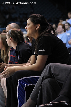 Katie on the Duke bench  - Duke Tags: #25 Katie Heckman