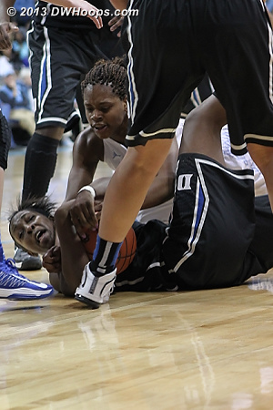 Gray and McDaniel tangle, the result was a double technical which counted as personal fouls for both players.  It was Gray's second foul, so she took a seat.  - Duke Tags: #12 Chelsea Gray - UNC Players: #34 Xylina McDaniel