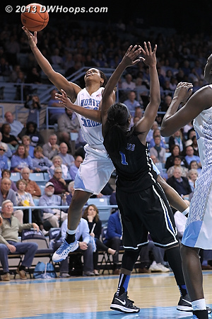 Elizabeth Williams draws a charge from Xylina McDaniel - back to back offensive fouls would send her to the bench with three  - Duke Tags: #1 Elizabeth Williams  - UNC Players: #34 Xylina McDaniel