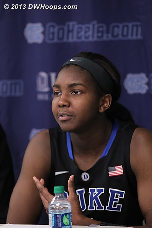 Elizabeth Williams takes a question in the post game press conference