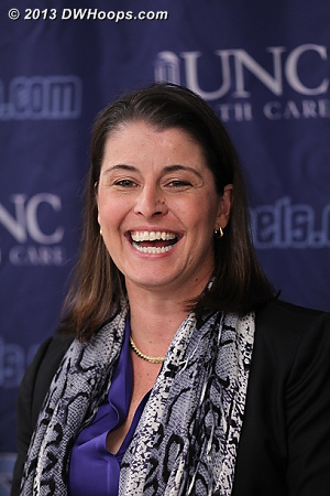 A happy Joanne P. McCallie in the press room after Duke's dominant 84-63 win over UNC  - Duke Tags: Joanne P. McCallie