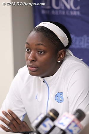 10 of Waltiea Rolle's 17 points came in the second half.  Her two blocked shots were momentum changers, as were her four fouls.  - UNC Players: #32 Waltiea Rolle