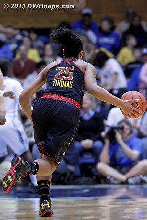 Alyssa Thomas pushes the ball up court for Maryland  - MD Players: #25 Alyssa Thomas