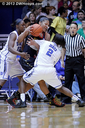 Duke guards swarm Alyssa Thomas  - Duke Tags: #2 Alexis Jones, #12 Chelsea Gray - MD Players: #25 Alyssa Thomas