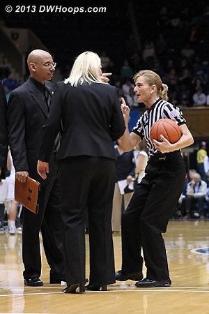 Dee Kantner warns Maryland coach Brenda Frese during the first media time out of the game  - MD Players: Head Coach Brenda Frese